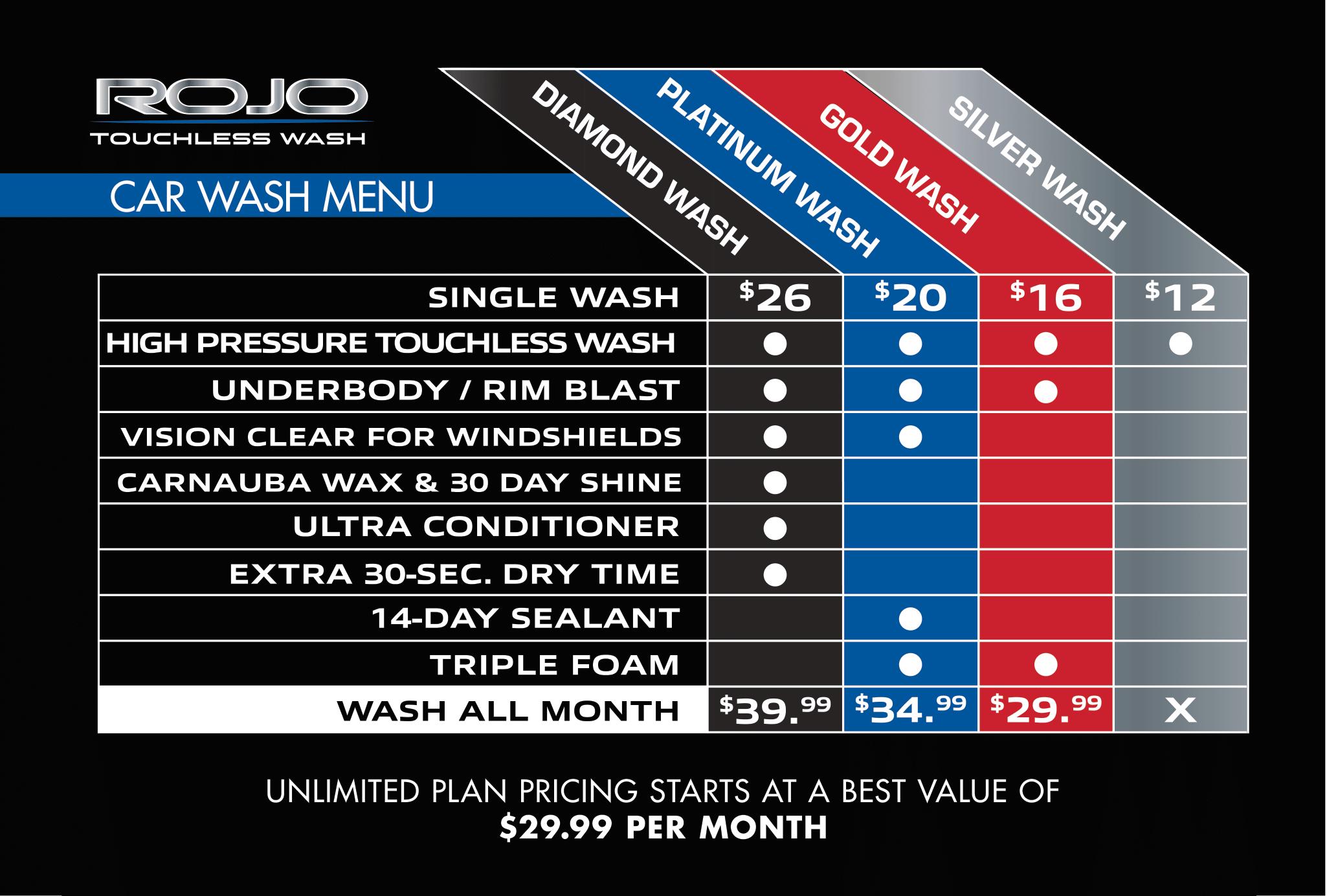 Rojo Exterior Wash Car wash Menu